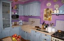 Cucina completa azzurra anticata